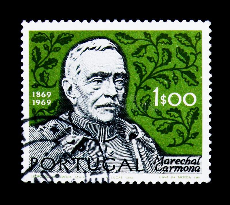 奥斯卡安东尼奥de Fragoso卡尔莫纳1869-1951,法警卡尔莫纳serie诞生百年总统,大约1970年 库存照片