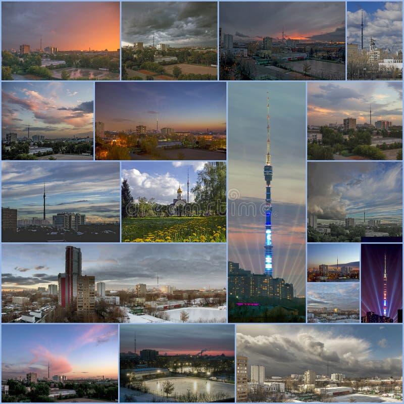 奥斯坦基诺电视塔的拼贴画 免版税图库摄影