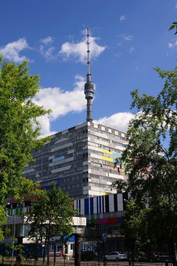 奥斯坦基诺电视塔的看法在莫斯科 免版税库存图片
