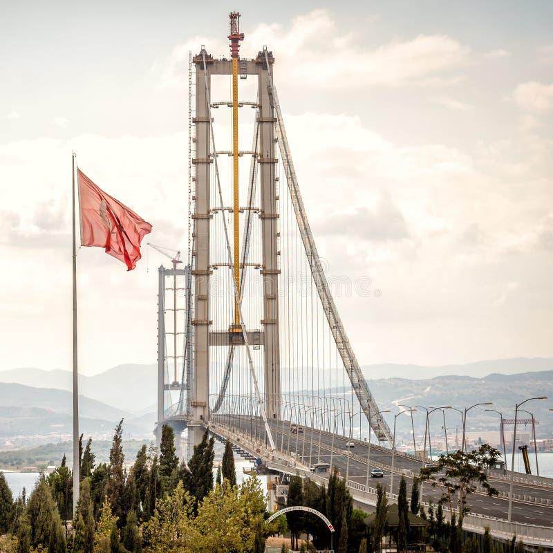奥斯曼Gazi桥梁在Kocaeli,土耳其 库存照片