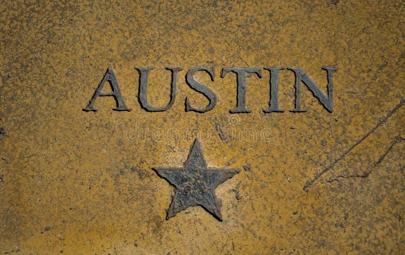 奥斯汀得克萨斯首都星和中央得克萨斯象 免版税库存图片