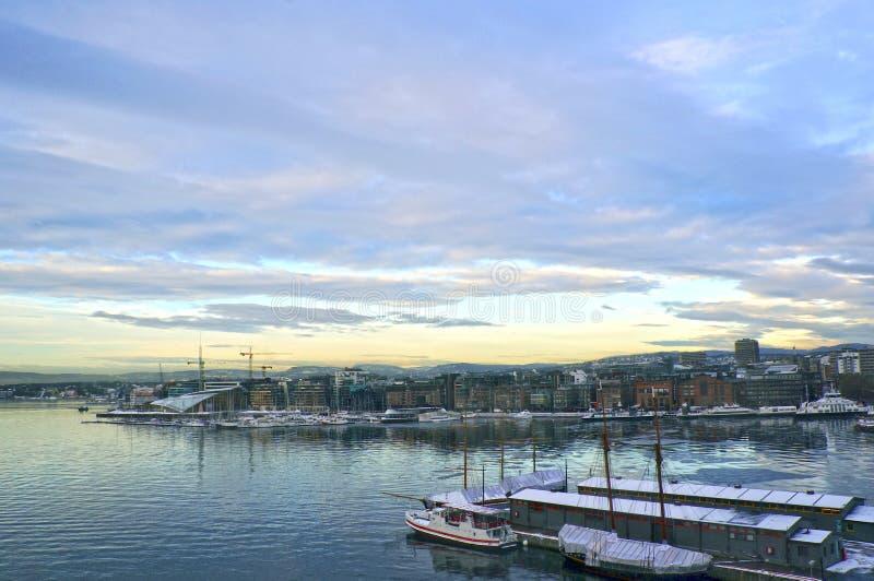 奥斯陆和奥斯陆海湾看法  挪威 库存照片