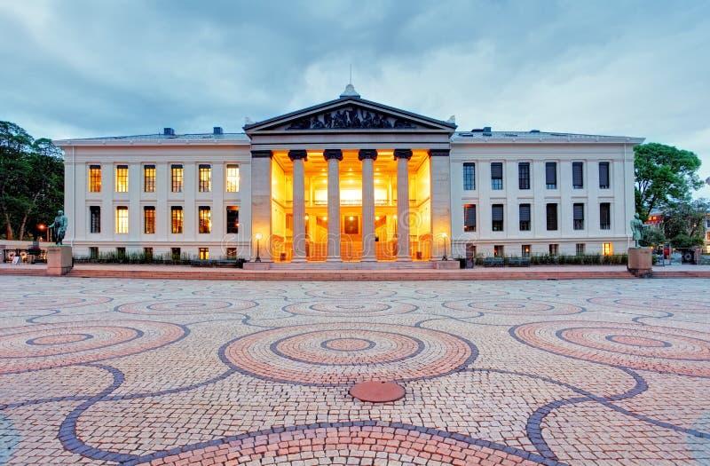 奥斯陆大学,挪威在晚上 库存照片