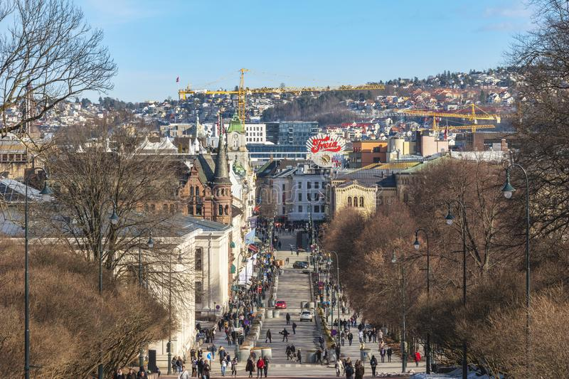 奥斯陆挪威购物街道 图库摄影