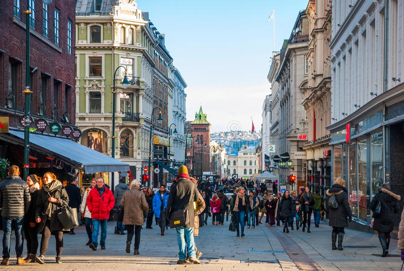 奥斯陆,挪威街道  免版税库存照片