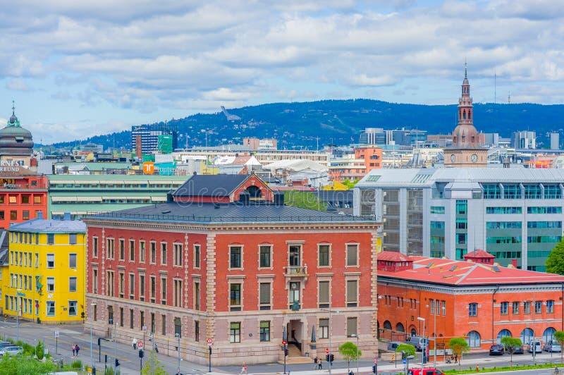 奥斯陆,挪威- 2015年7月8日, :从屋顶的巨大看法 库存图片