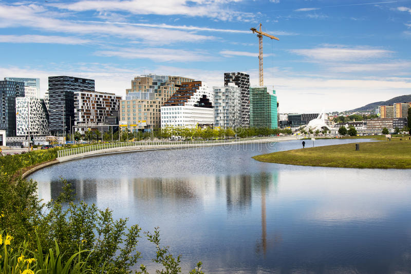 奥斯陆,街市, Bjoervia挪威 图库摄影