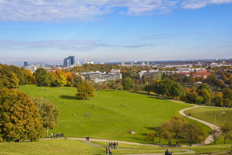 奥林匹亚公园在慕尼黑,巴伐利亚,德国 库存图片