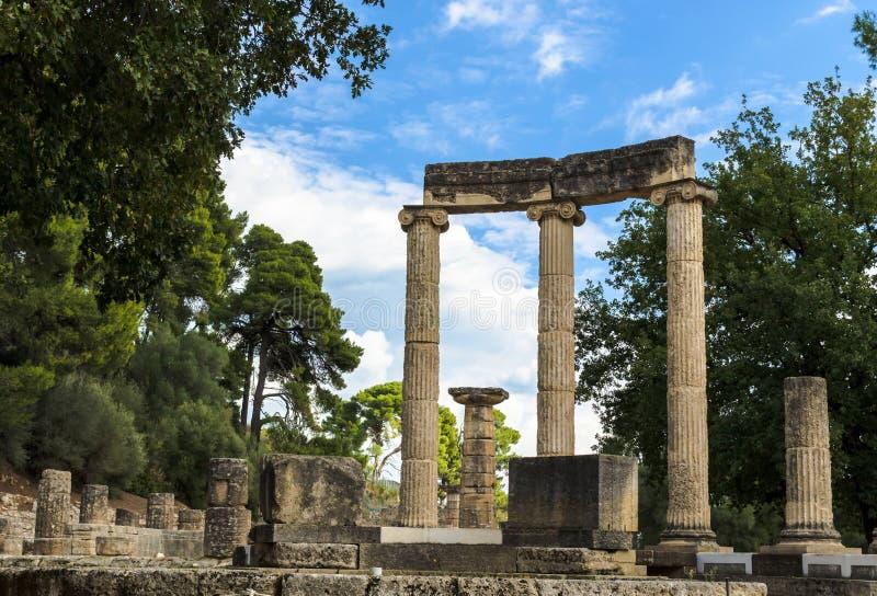 奥林匹亚考古学站点古老废墟在伯罗奔尼撒,希腊 库存照片
