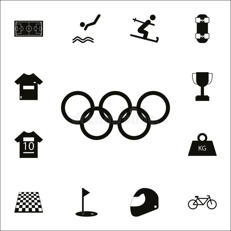 奥林匹克圆环象 详细的套体育象 优质质量图形设计标志 其中一个网站的汇集象,我们 库存例证
