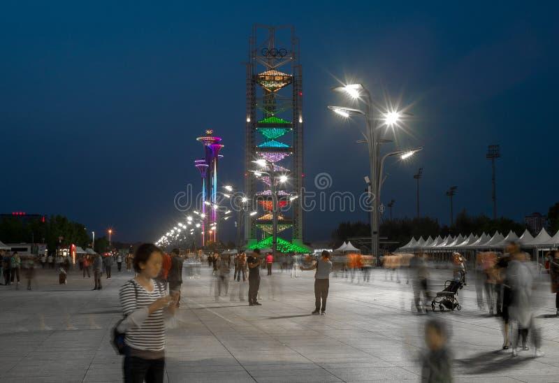 奥林匹克村庄夜视图在北京,中国 免版税库存照片