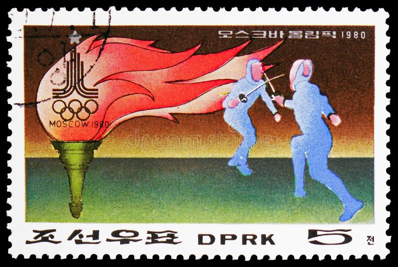 奥林匹克火炬和双刃剑战斗,莫斯科,夏天奥运会,莫斯科1980年:体育I serie,大约1979年 图库摄影
