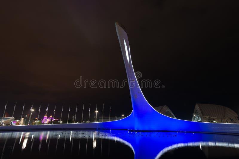 奥林匹克火炬在索契公园 免版税库存图片