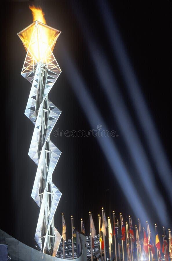 奥林匹克火炬,盐湖城,犹他,冬季奥运会, 2002年 库存照片