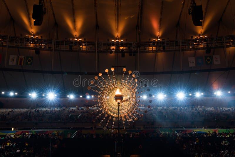 奥林匹克火葬用的柴堆2016年 库存照片