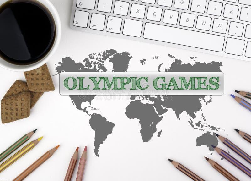 奥林匹克的比赛 浏览生意人服务台办公室万维网白色 免版税库存照片