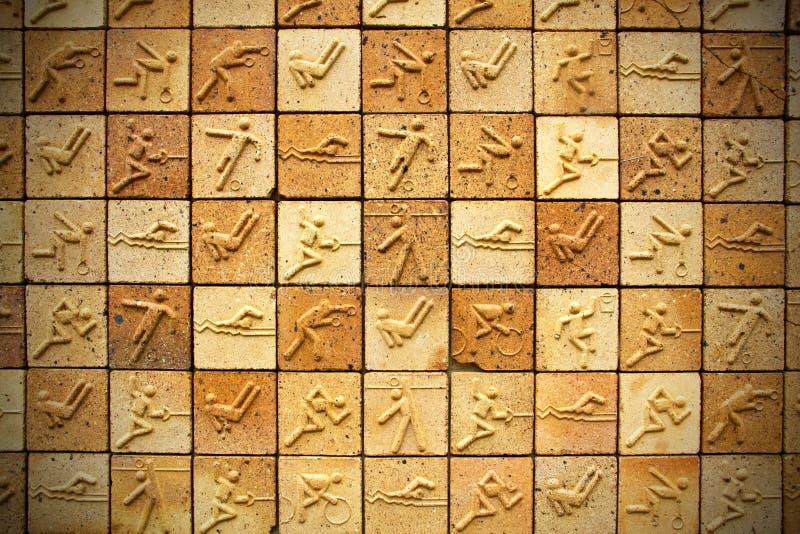 奥林匹克砖纹理背景 免版税库存图片