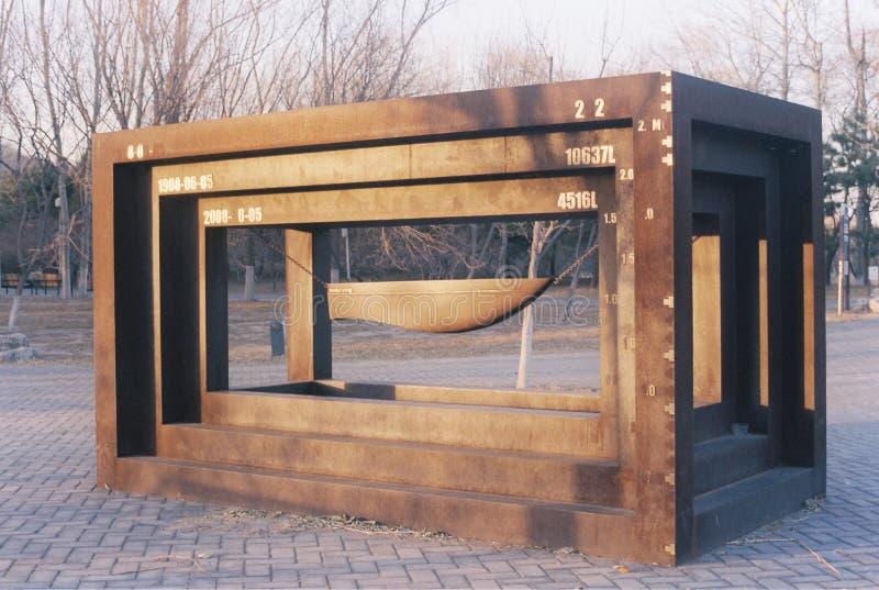 奥林匹克纪念雕塑在北京 免版税库存照片