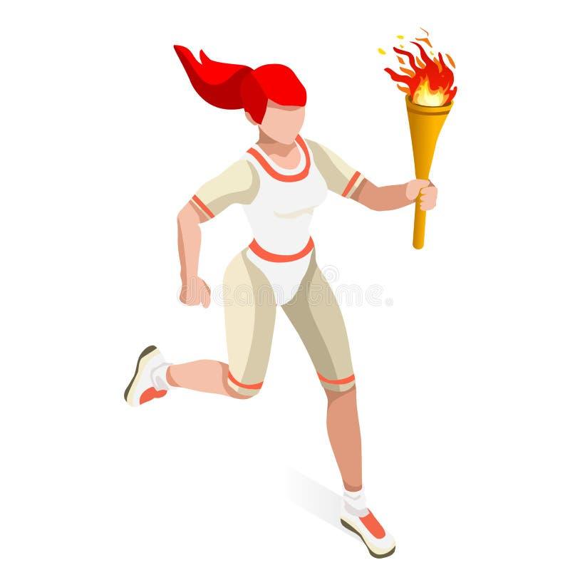奥林匹克领导人中转连续妇女夏天比赛象集合 概念乡下空的老透视图路速度舒展 3D等量运动员 体育竞赛 体育运动 库存例证