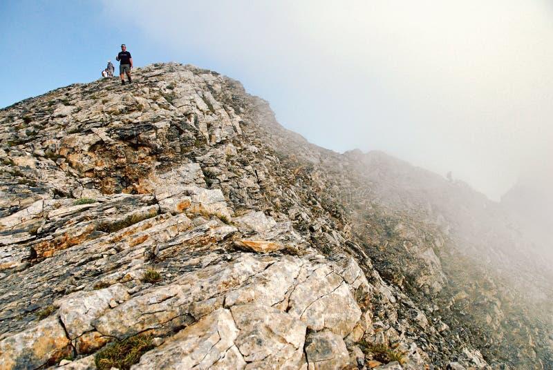 奥林匹斯山山,到达斯卡瓦山顶 免版税库存照片