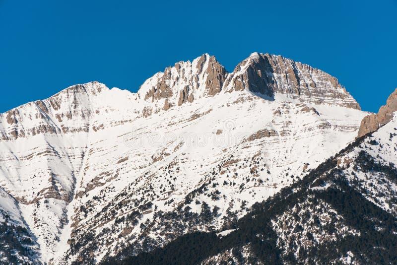 奥林匹斯山峰顶有雪的 免版税库存图片