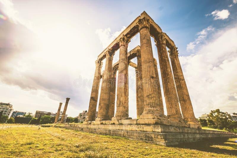 奥林山宙斯寺庙在雅典 图库摄影