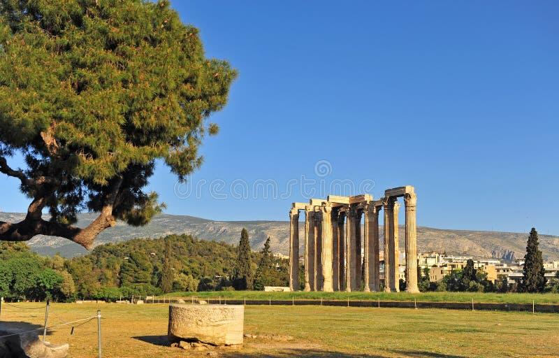 奥林山宙斯寺庙,雅典市,希腊废墟  库存照片