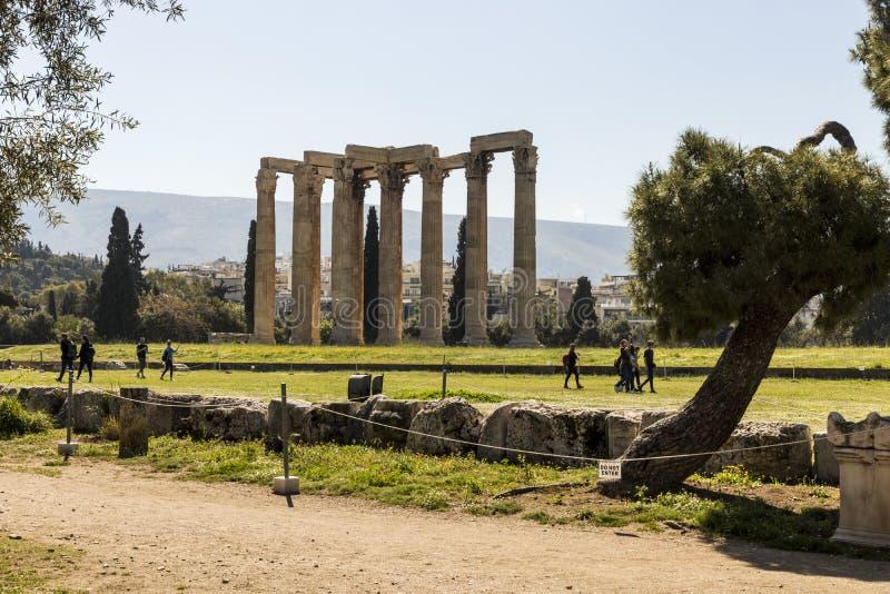 奥林山宙斯,雅典,希腊寺庙  免版税图库摄影