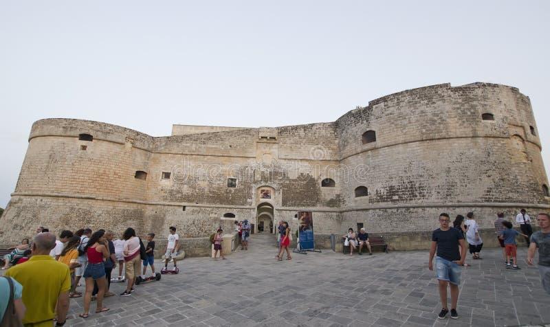 奥特朗托城堡外部,意大利 库存照片