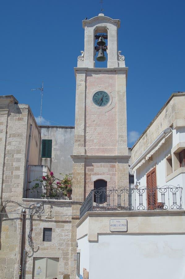 奥特朗托-意大利- 2016年8月02日:市政钟楼 免版税库存图片