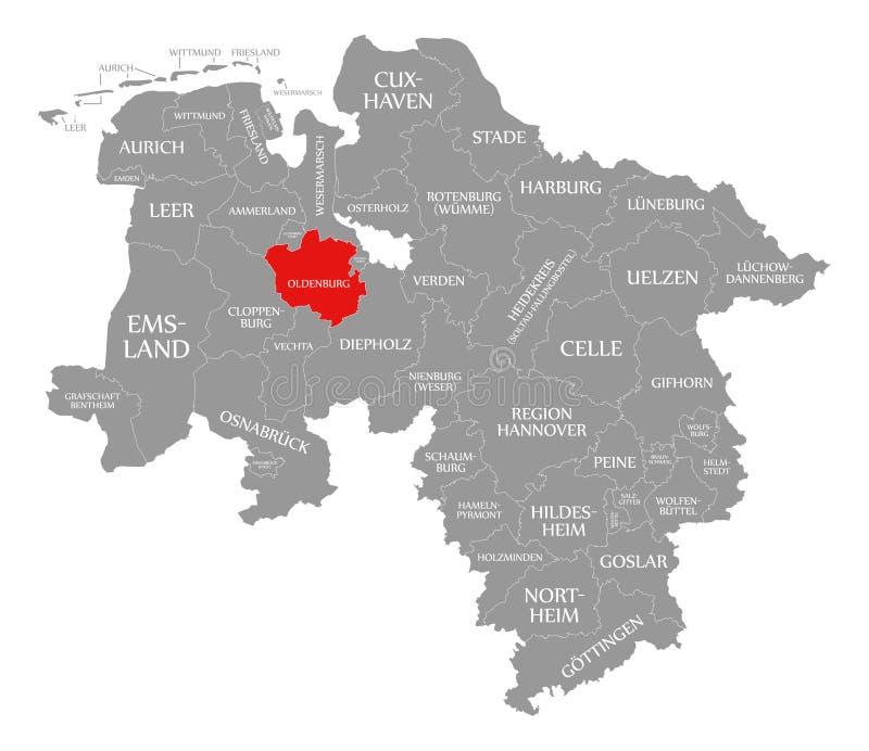 奥登堡县红色在下萨克森州德国地图突出了  库存例证