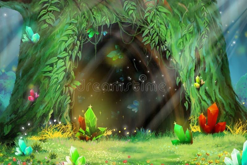奥秘树孔 电子游戏数字式CG艺术品 皇族释放例证