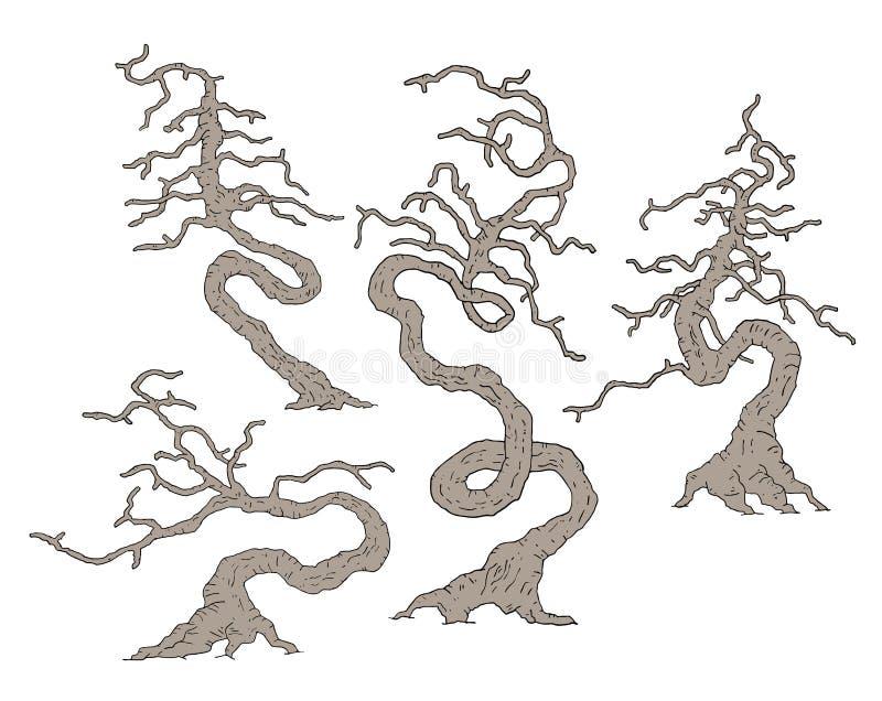 奥秘老树集合设计  向量例证