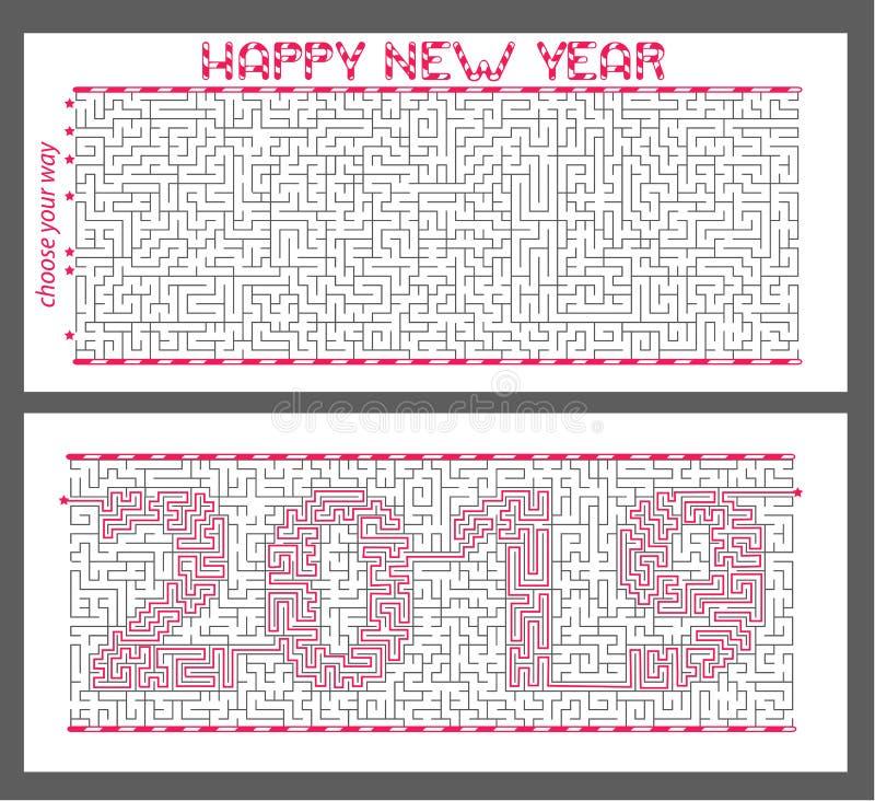 奥秘迷宫与被加密的题字的2019年 概念是新年的标志 库存例证