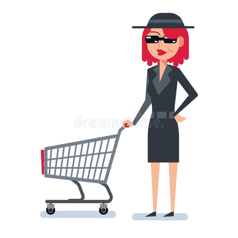 奥秘间谍外套的顾客妇女有购物车的 向量例证