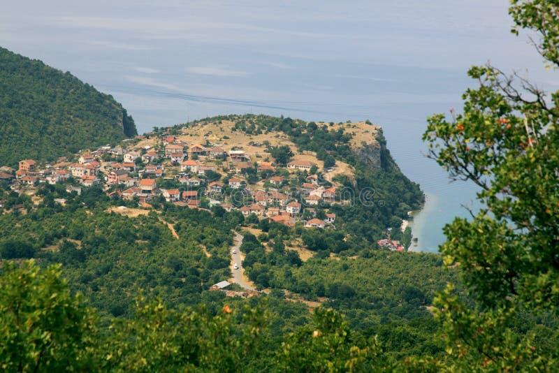 奥赫里德湖和Trpejca视图从上面 库存图片