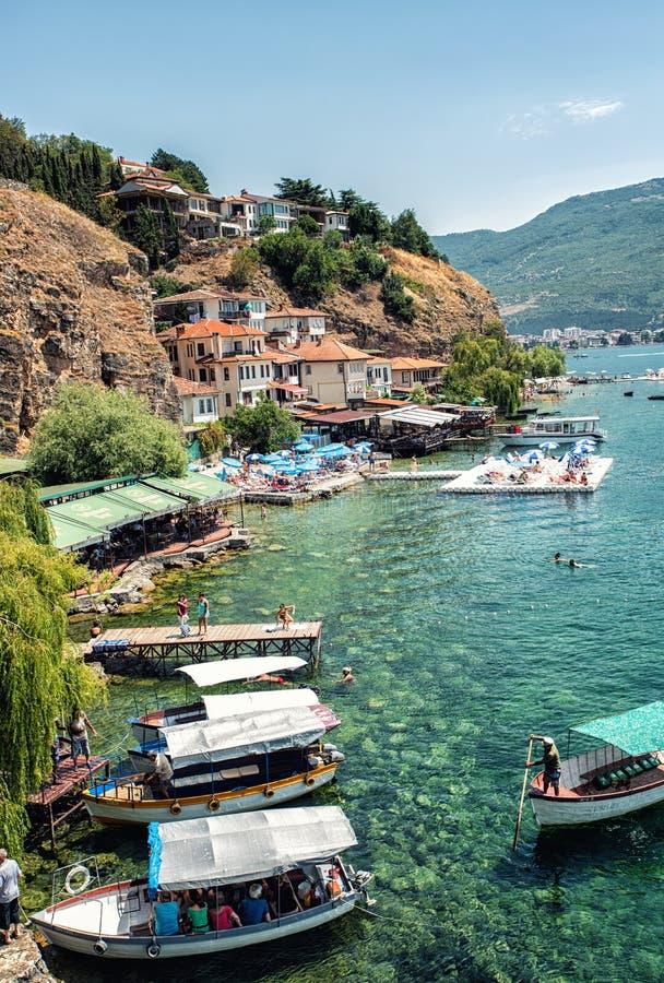 奥赫里德湖的,奥赫里德,马其顿奥赫里德港口 免版税图库摄影