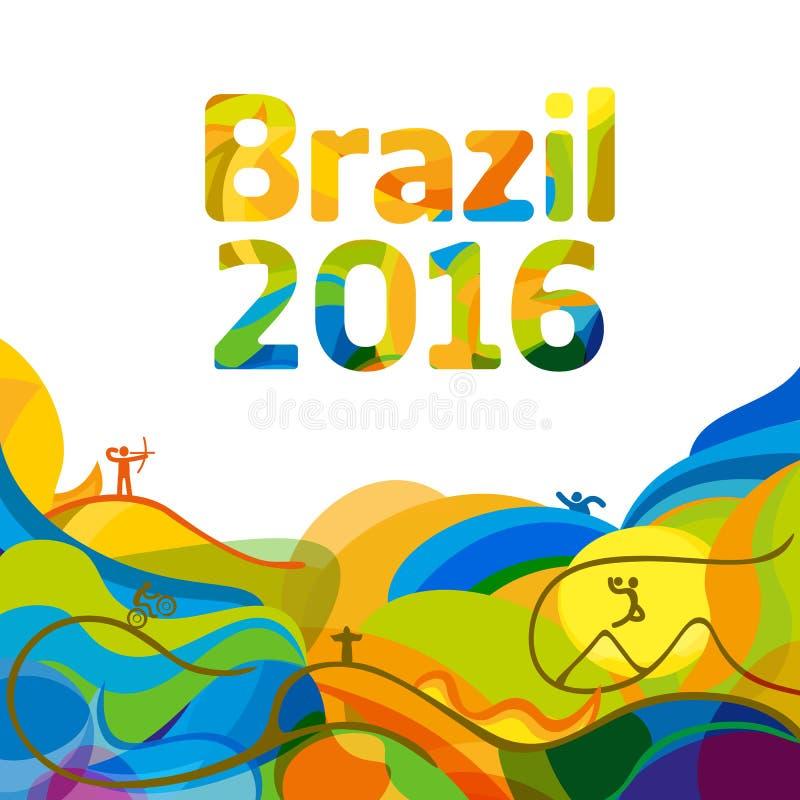 奥运会2016墙纸的夏天颜色 皇族释放例证