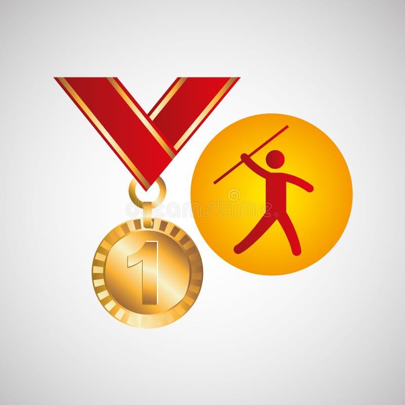 奥运金牌奖牌投掷标枪象 库存例证