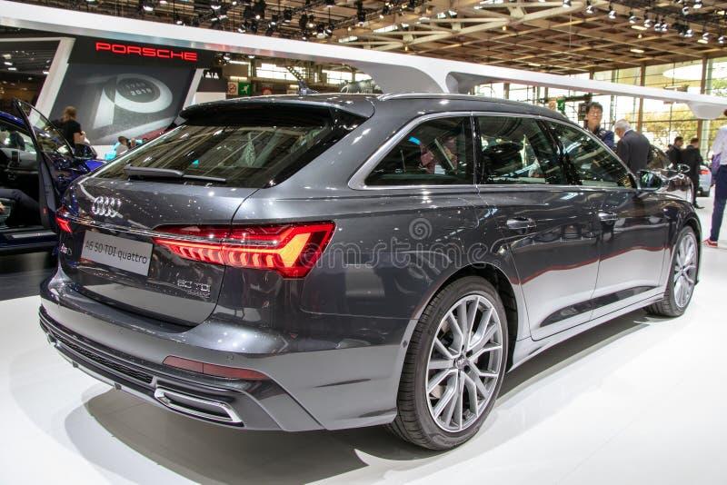 奥迪A6 50 TDI quattro汽车被提出在巴黎汽车展示会 库存图片