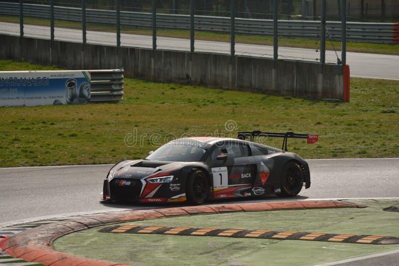 奥迪R8 LMS GT3 2016测试在蒙扎 免版税库存图片