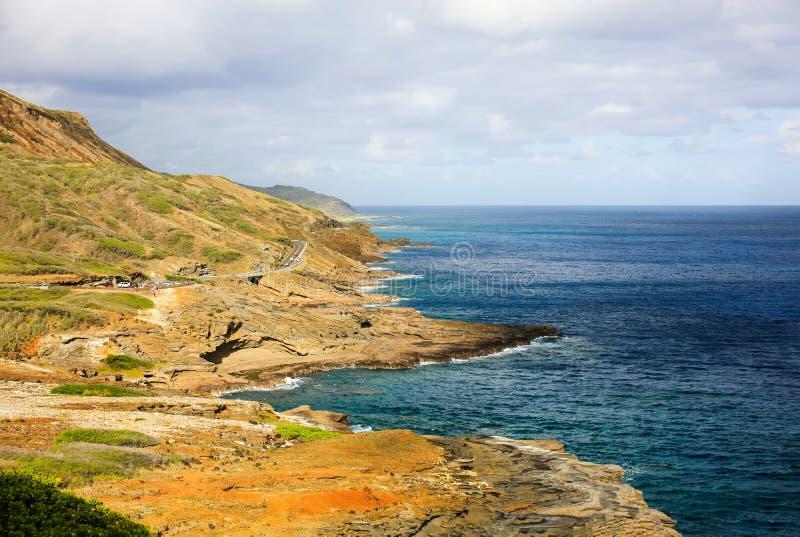 奥阿胡岛东南部海岸线,夏威夷 免版税库存照片