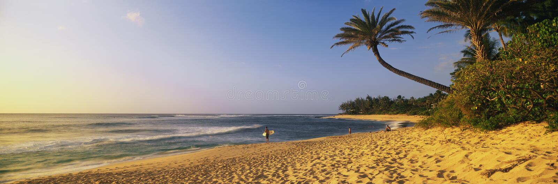 奥阿胡岛海岛的岸。 库存照片