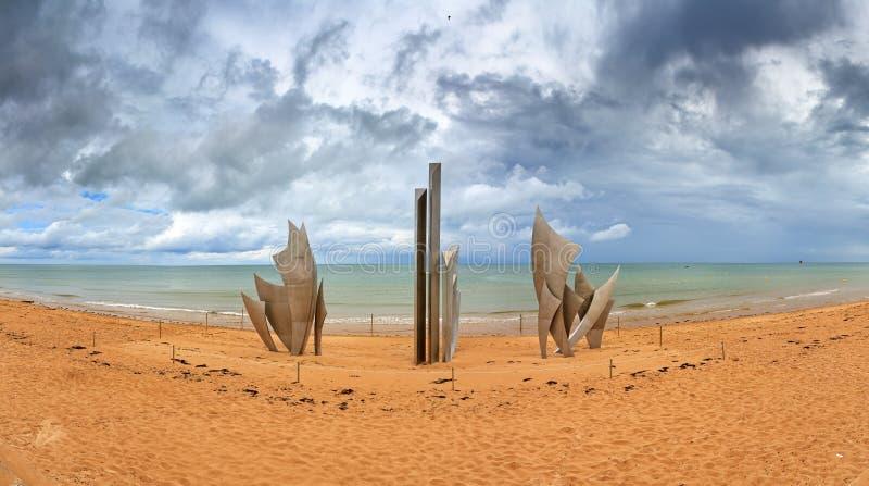 奥马哈海滩纪念碑阴云密布 库存照片