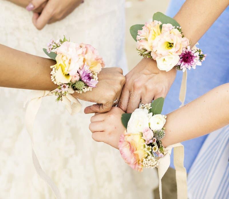 女傧相手和新娘胸衣 库存照片