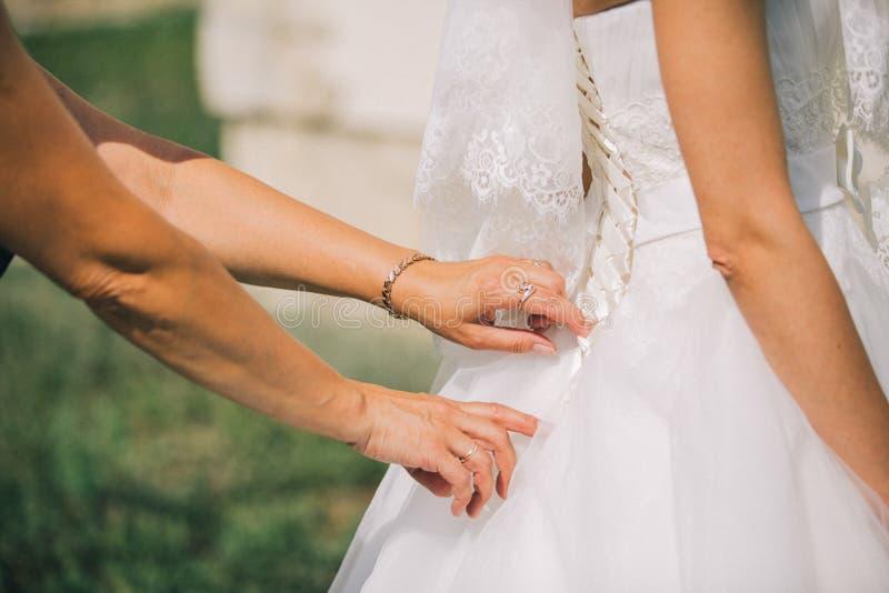 女傧相穿礼服的帮助新娘 库存照片
