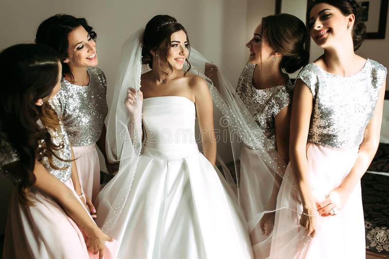 女傧相面纱的新娘围拢的 库存图片