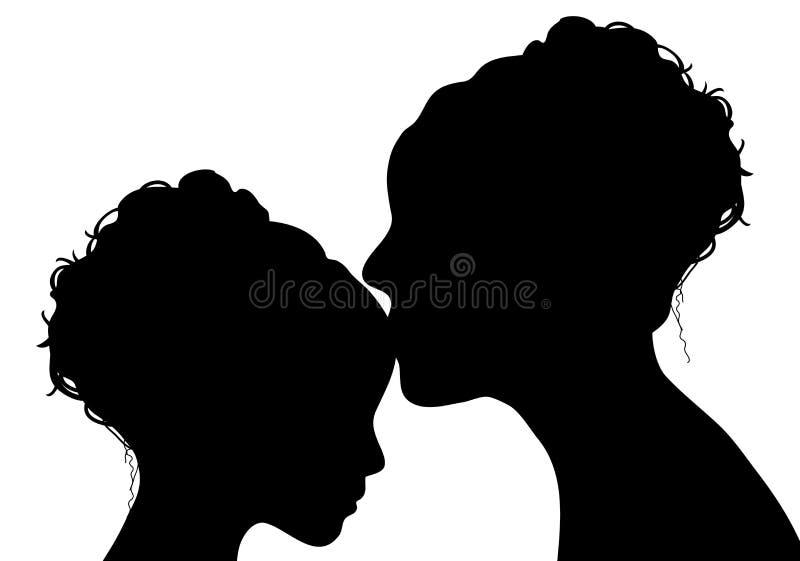 女儿亲吻母亲 库存例证