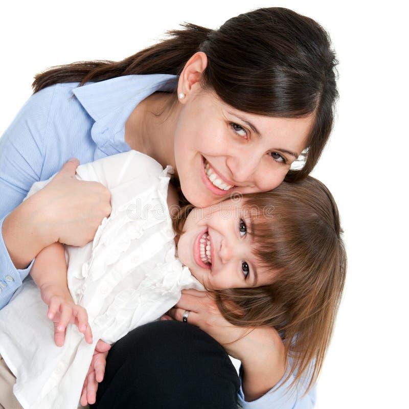 女儿友好母亲纵向 免版税库存图片