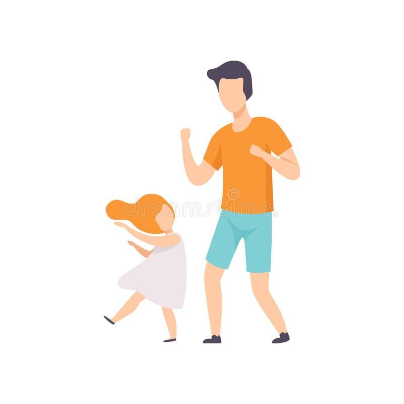 女儿和爸爸跳舞,获得的小女孩与她的父亲传染媒介例证的乐趣在白色背景 皇族释放例证